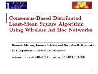 Consensus-Based Distributed Least-Mean Square Algorithm Using Wireless Ad Hoc Networks