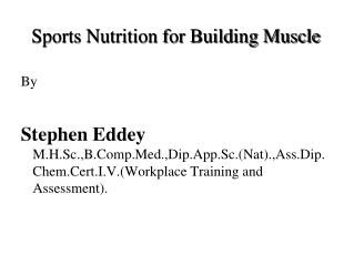 Sports Nutrition for Building Muscle