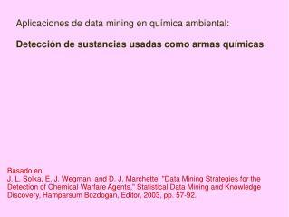 Aplicaciones de data mining en química ambiental: