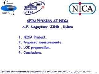 SPIN PHYSICS AT NIC A A.P.  Nagaytsev , JINR ,  Dubna