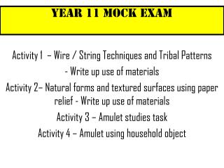 Year 11 Mock Exam