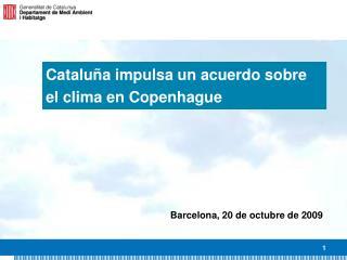 Cataluña impulsa un acuerdo sobre el clima en Copenhague