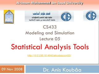 CS433 Modeling and Simulation Lecture 05  Statistical Analysis Tools