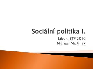 Sociální politika I.