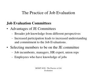 The Practice of Job Evaluation