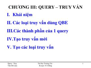 CH??NG III: QUERY � TRUY V?N