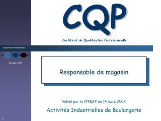 CQP Certificat de Qualification Professionnelle
