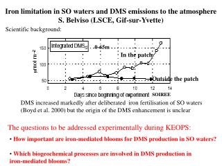 Iron limitation in SO waters and DMS emissions to the atmosphere S. Belviso (LSCE, Gif-sur-Yvette)