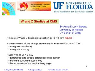 W and Z Studies at CMS