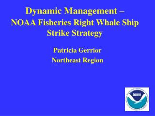 Dynamic Management –  NOAA Fisheries Right Whale Ship Strike Strategy