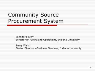 Community Source Procurement System