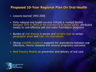 Proposed 10-Year Regional Plan On Oral Health