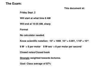The Exam:  Friday Sept. 2 Will start at what time 8 AM Will end at 10:55 AM, sharp Format