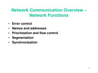 Network Communication Overview – Network Functions