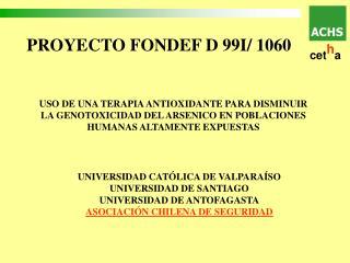 PROYECTO FONDEF D 99I/ 1060