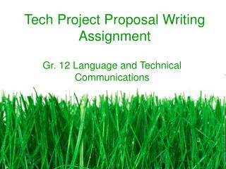 Tech Project Proposal Writing Assignment