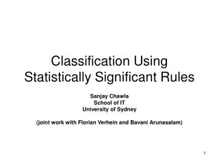 Classification Using Statistically Significant Rules