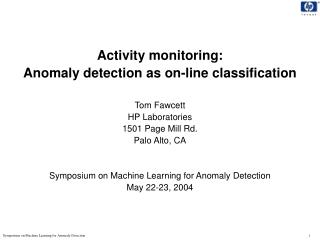 Example: Intrusion detection