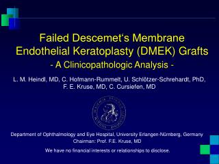 Failed Descemet's Membrane Endothelial Keratoplasty (DMEK) Grafts - A Clinicopathologic Analysis -