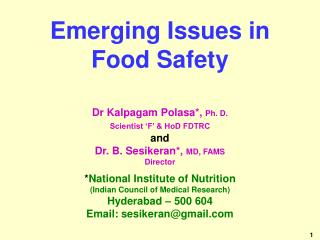 Emerging Issues in Food Safety