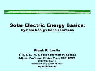 Solar Electric Energy Basics: System Design Considerations