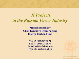 JI Projects  in the Russian Power Industry  Mikhail Rogankov Chief Executive Officer acting Energy Carbon Fund    Tel.: