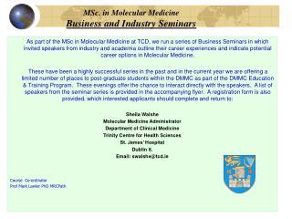 MSc. in Molecular Medicine Business and Industry Seminars