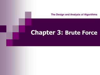 Chapter 3: Brute Force
