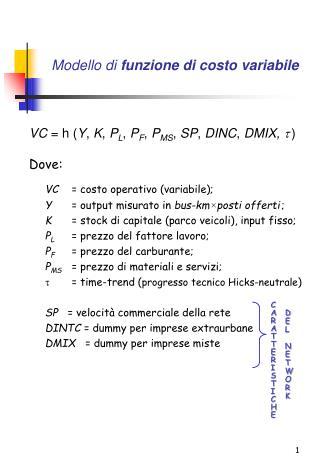 Modello di  funzione di costo variabile