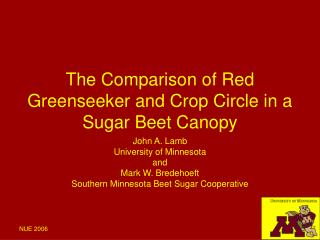 The Comparison of Red Greenseeker and Crop Circle in a Sugar Beet Canopy