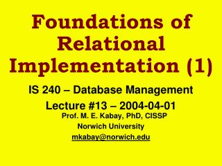 Foundations of Relational Implementation (1)