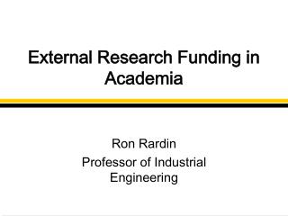External Research Funding in Academia