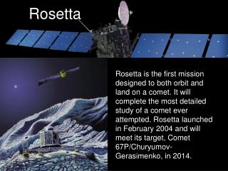 This artist's impression shows the Rosetta spacecraft, its lander, and a comet.