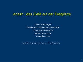 ecash : das Geld auf der Festplatte