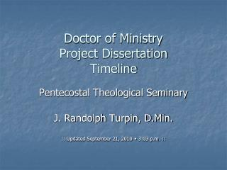 Doctor of Ministry Project Dissertation Timeline