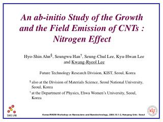 An ab-initio Study of the Growth and the Field Emission of CNTs : Nitrogen Effect