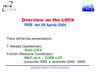 There will be two presentations: T. Nakada (Spokesman):  Stato LHCb