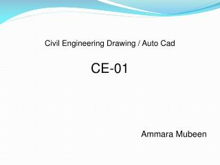 Civil Engineering Drawing / Auto Cad CE-01 Ammara  Mubeen