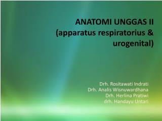 ANATOMI UNGGAS II (apparatus respiratorius & urogenital)