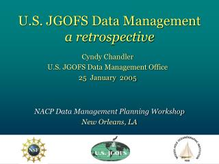 U.S. JGOFS Data Management a retrospective