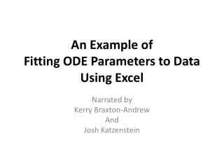 An Example of Fitting ODE Parameters to Data Using Excel