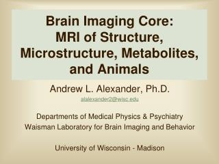 Brain Imaging Core:   MRI of Structure, Microstructure, Metabolites, and Animals