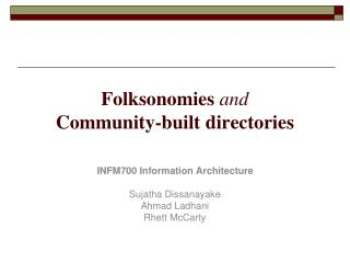 Folksonomies and Community-built directories