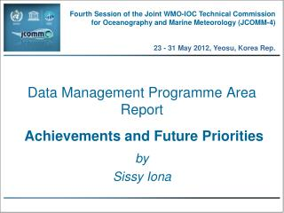 Data Management Programme Area  Report Achievements and Future Priorities