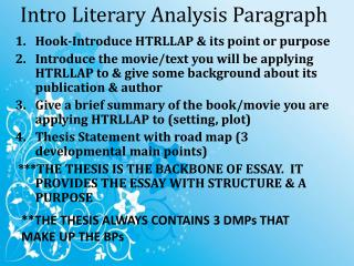 Intro Literary Analysis Paragraph