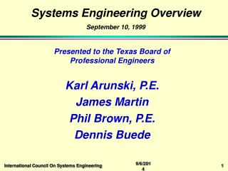 Systems Engineering Overview September 10, 1999