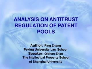 ANALYSIS ON ANTITRUST REGULATION OF PATENT POOLS