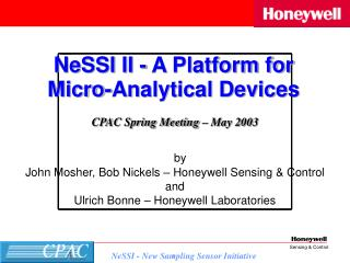 by John Mosher, Bob Nickels – Honeywell Sensing & Control  and