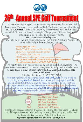 26 th    Annual SPE Golf Tournament