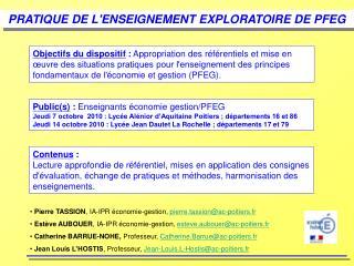 PRATIQUE DE LENSEIGNEMENT EXPLORATOIRE DE PFEG